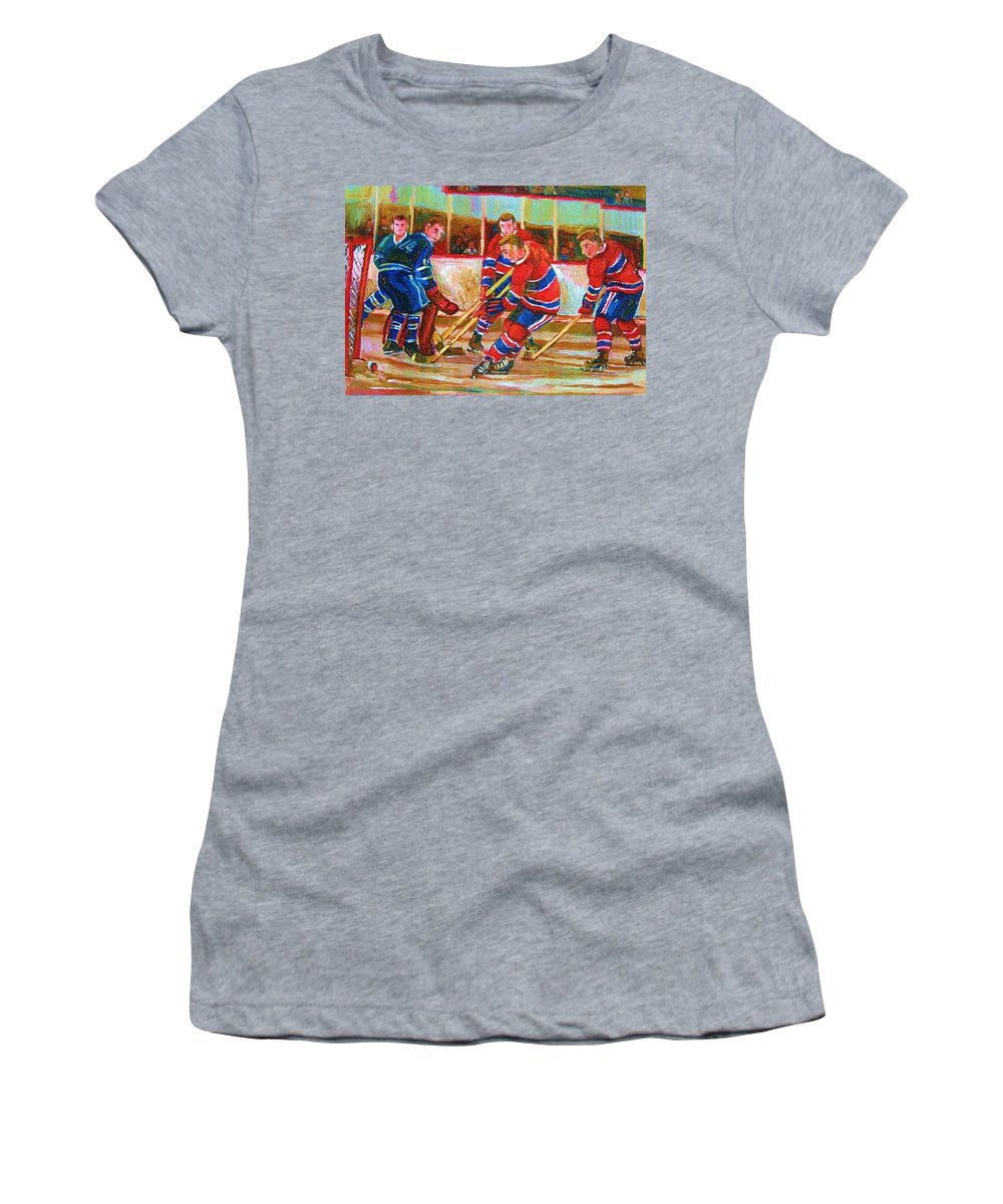 Hockey Women's T-Shirt (Athletic Fit) featuring the painting He Shoots  He Scores by Carole Spandau