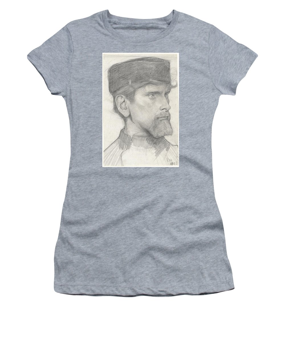 Head Of A Man With A Hat Women's T-Shirt (Athletic Fit) featuring the painting Head Of A Man With A Hat by Richard Roland Holst