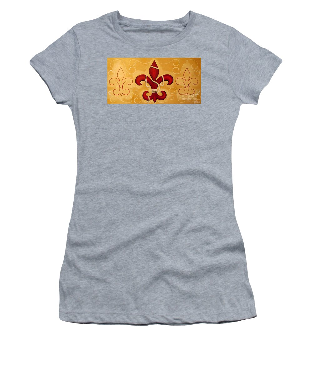 Fleur De Lis Women's T-Shirt (Athletic Fit) featuring the painting Heart Of New Orleans by Valerie Carpenter