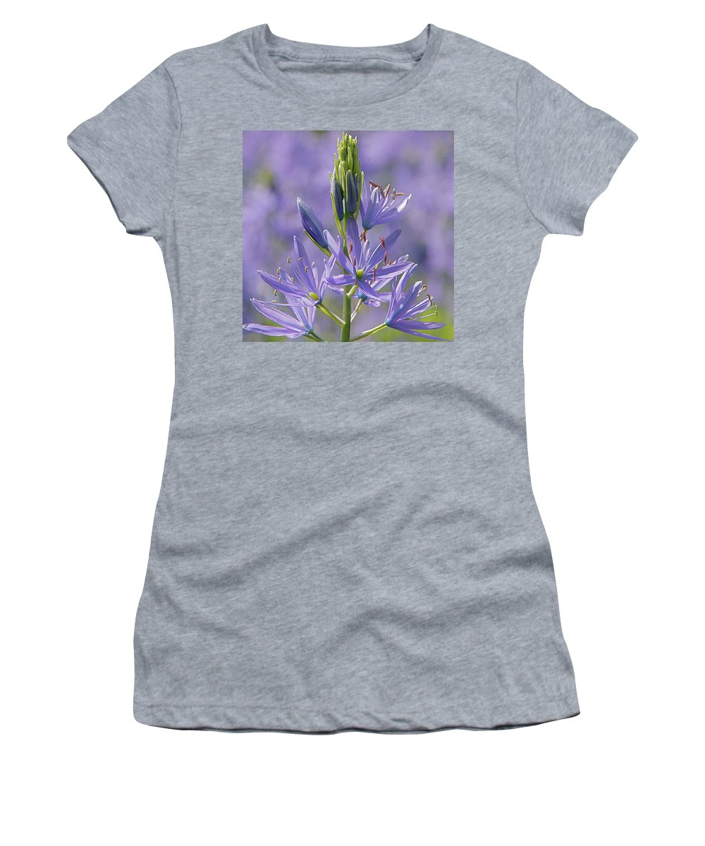 Floral Women's T-Shirt featuring the photograph Heavenly Blue Camassia by Byron Varvarigos