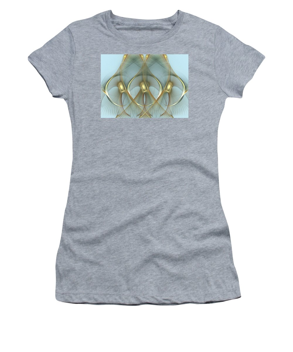 Wings Women's T-Shirt (Athletic Fit) featuring the digital art Heavenly Wings Of Gold by Georgiana Romanovna