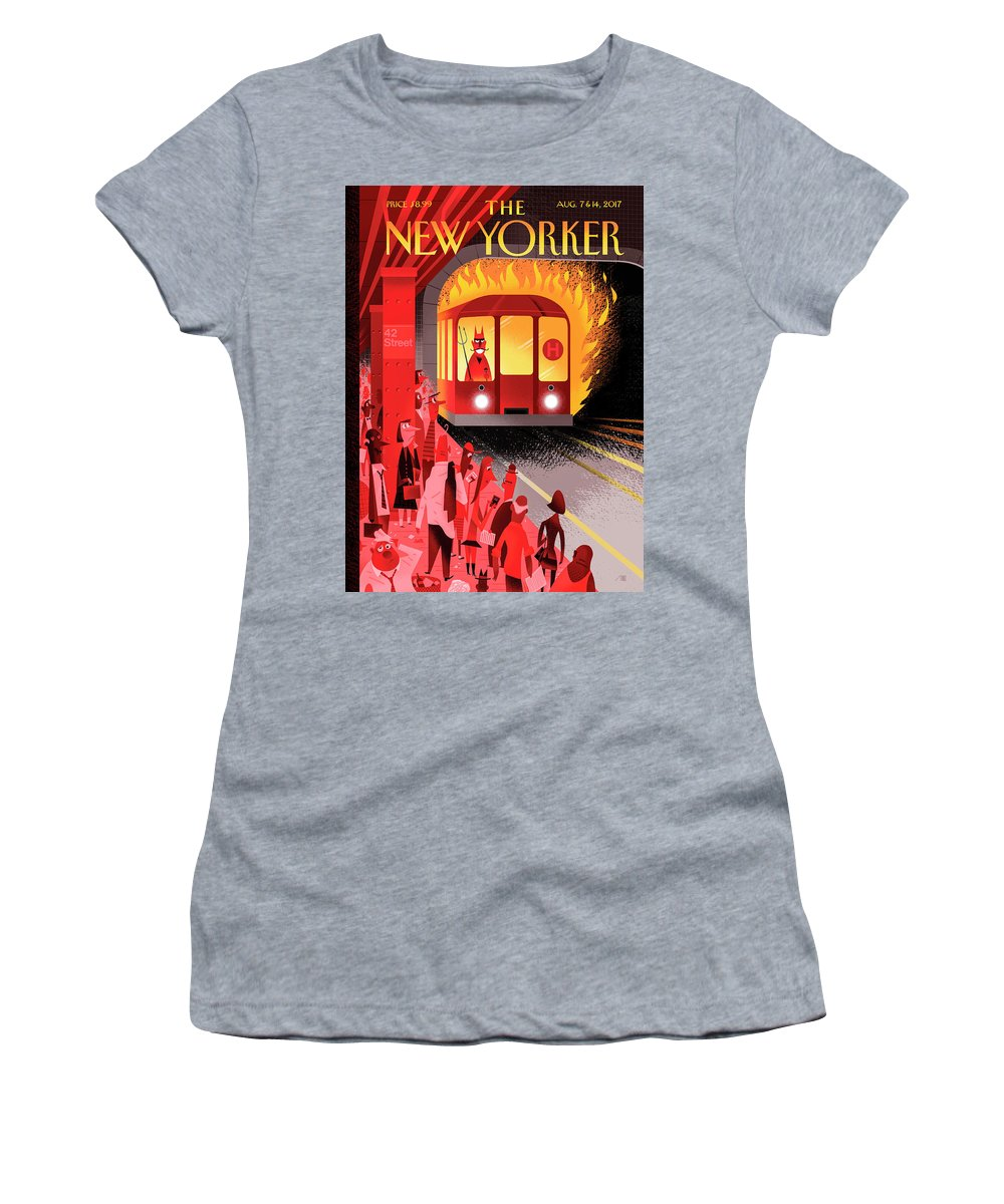 Hell Train Women's T-Shirt featuring the drawing Hell Train by Bob Staake