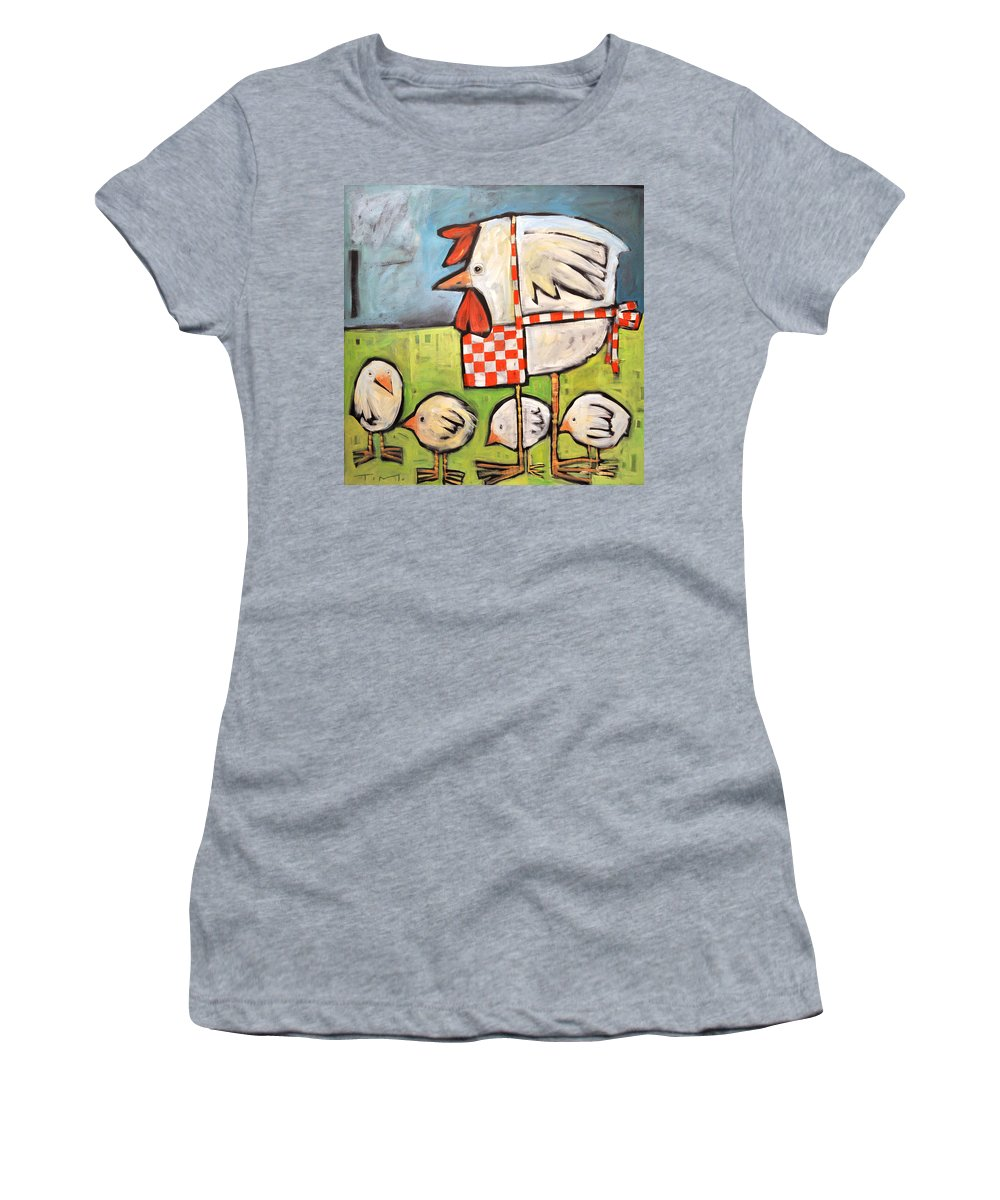 Chicks Women's T-Shirt (Athletic Fit) featuring the painting Hen And Chicks After Storm by Tim Nyberg