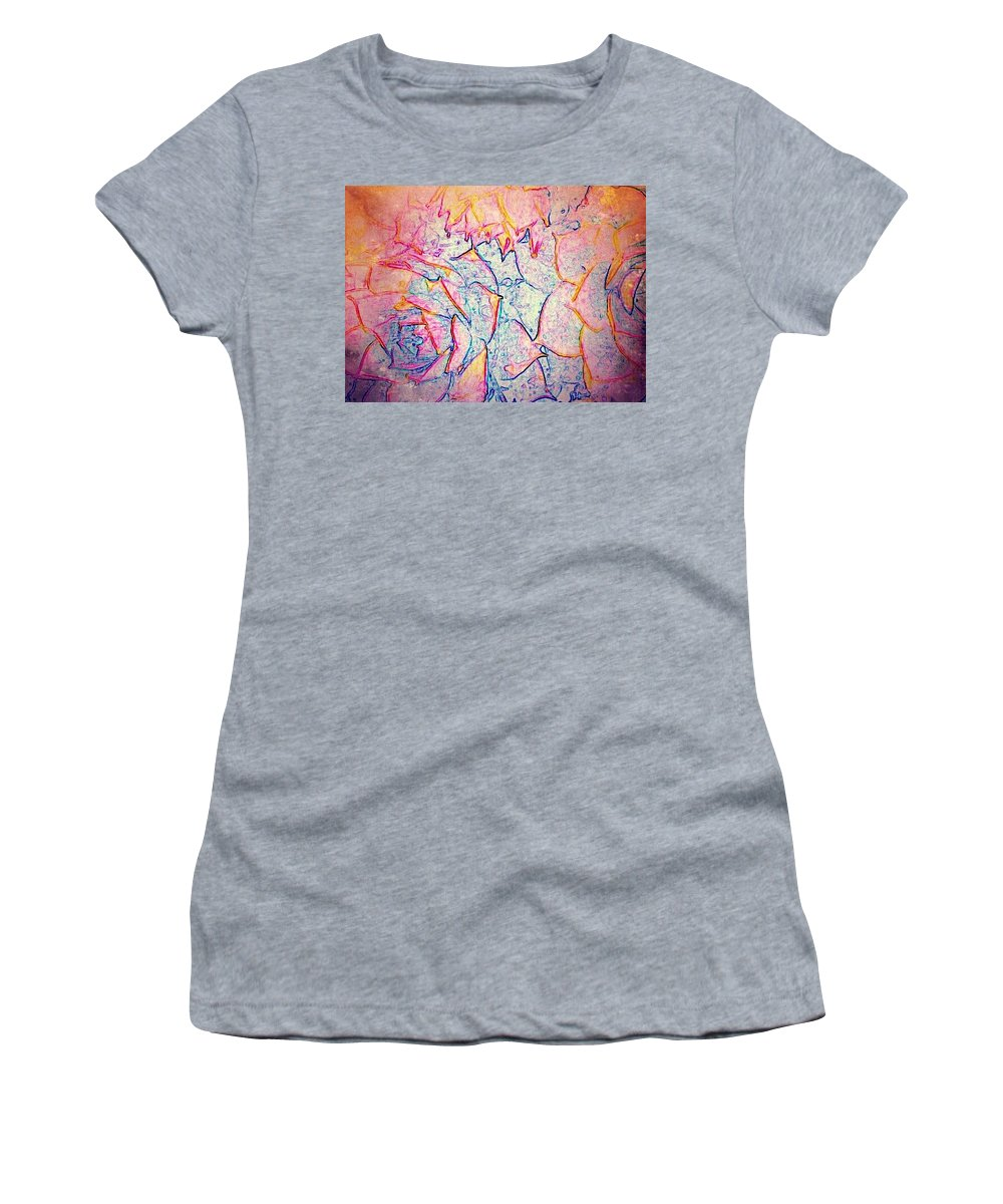 Hen And Chicks Plants Women's T-Shirt (Athletic Fit) featuring the digital art Hen And Chicks Plants by Cassie Peters
