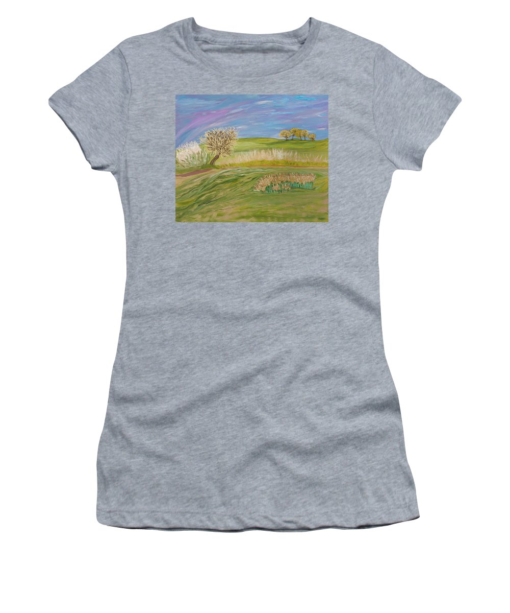 Whimsical Women's T-Shirt (Athletic Fit) featuring the painting Hey Sugar by Sara Credito