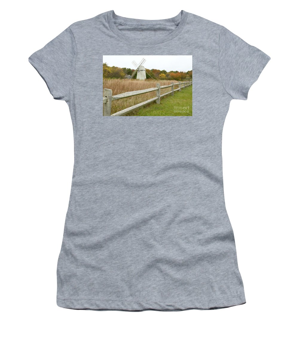 Higgins Farm Windmill Women's T-Shirt featuring the photograph Higgins Farm Windmill Brewster Cape Cod by Matt Suess