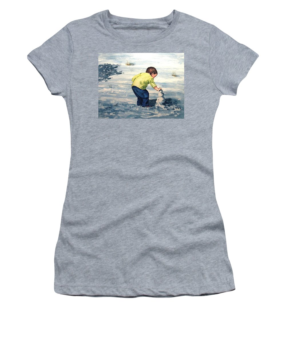 Child Women's T-Shirt (Athletic Fit) featuring the painting High Country Snow Girl by Sam Sidders