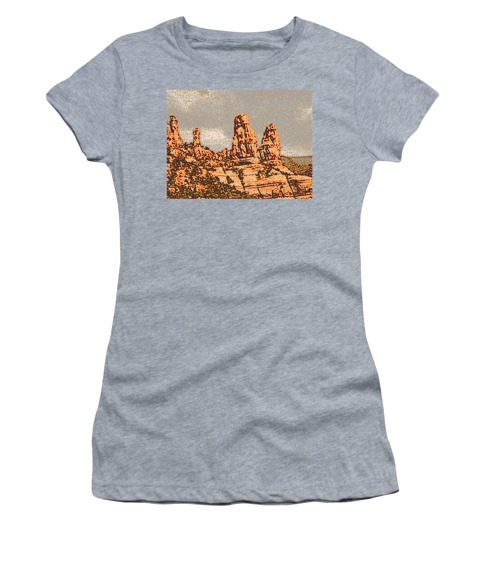 Altered Photography Women's T-Shirt (Athletic Fit) featuring the photograph Hills In Sedona by Wayne Potrafka