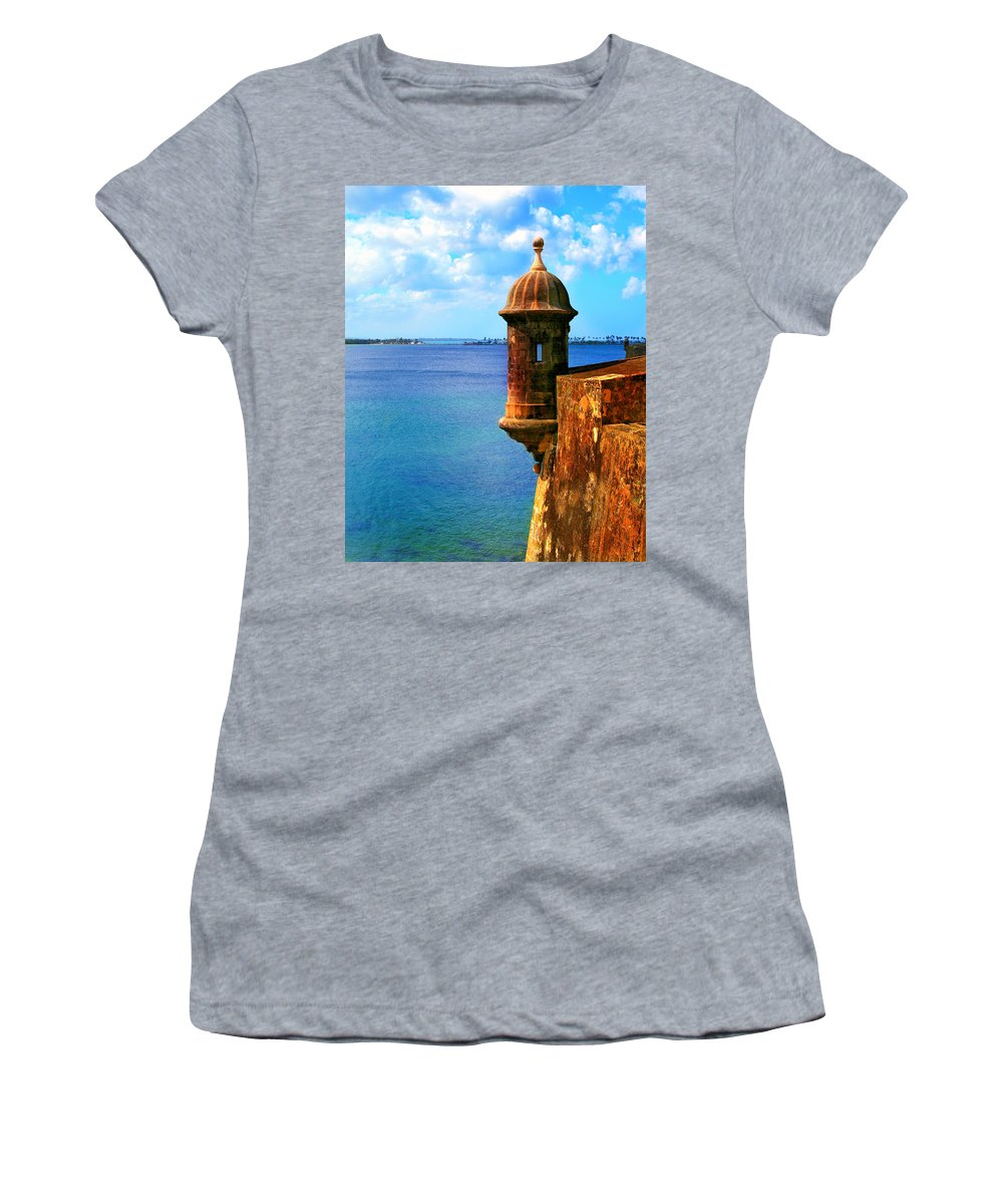 Fort Women's T-Shirt (Athletic Fit) featuring the photograph Historic San Juan Fort by Perry Webster