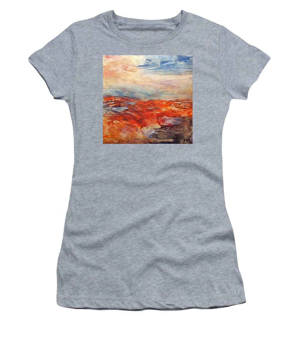 Abstract Landscape Women's T-Shirt (Athletic Fit) featuring the painting Histria by Dragica Micki Fortuna
