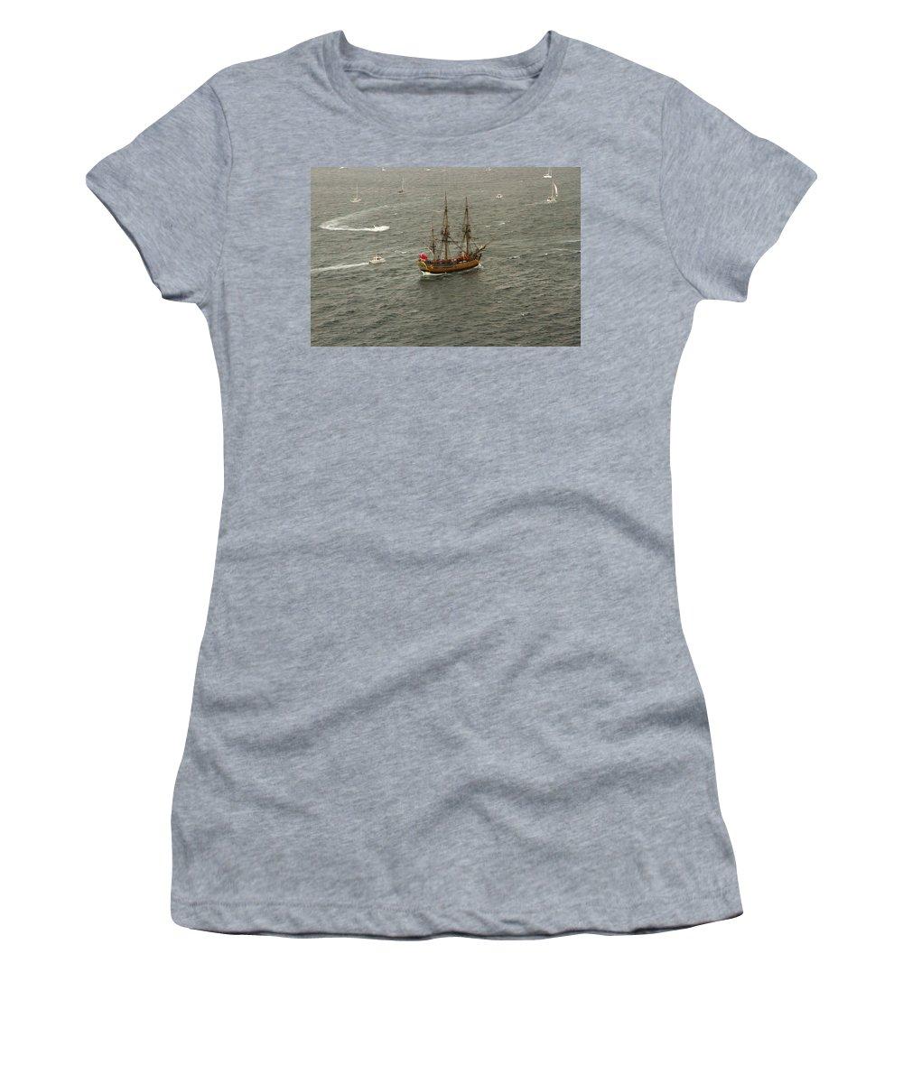 Navy Fleet Review Women's T-Shirt (Athletic Fit) featuring the photograph Hmb Endevour Enters Sydney Harbour by Miroslava Jurcik
