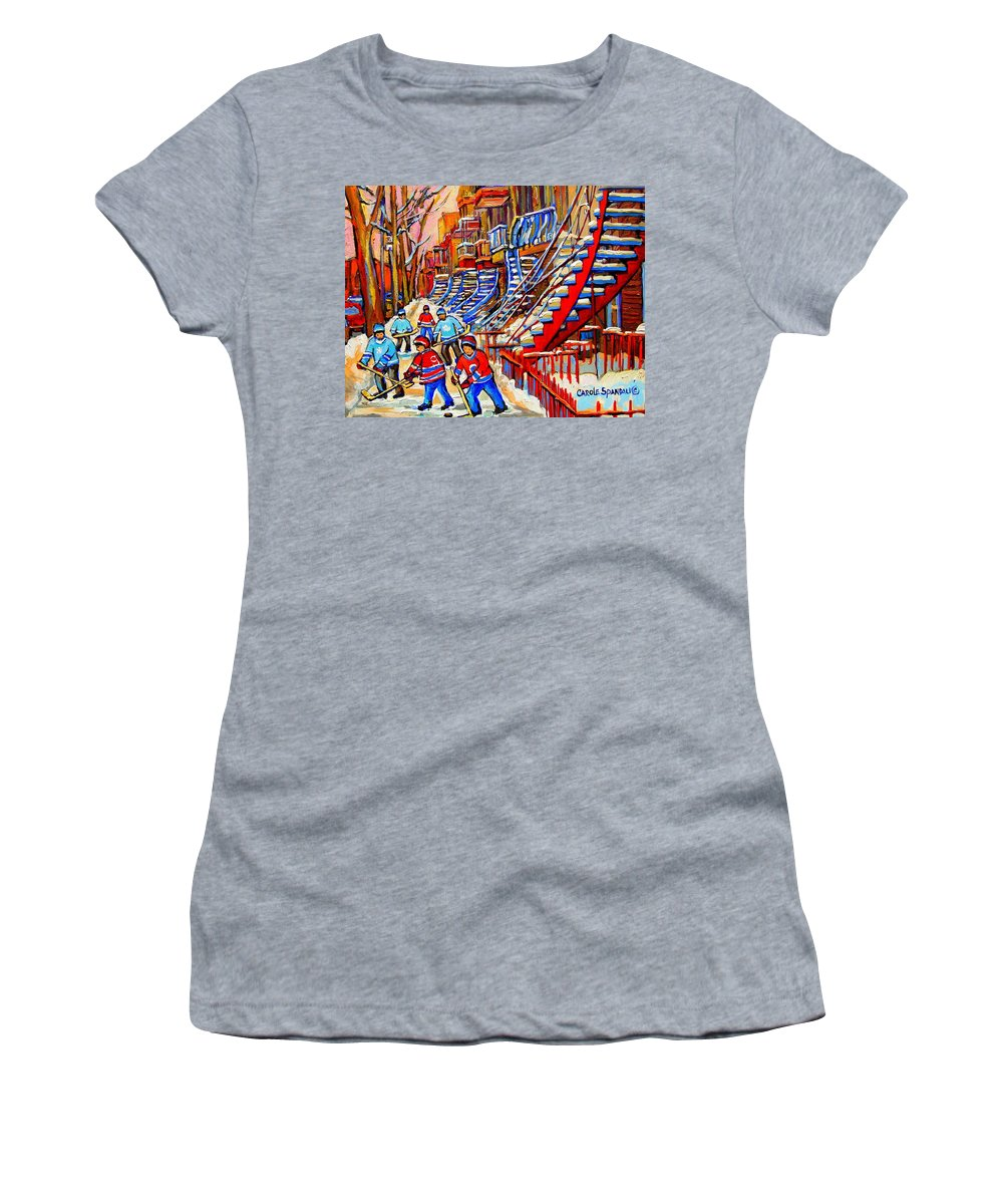 Montreal City Women's T-Shirt featuring the painting Hockey Game Near The Red Staircase by Carole Spandau