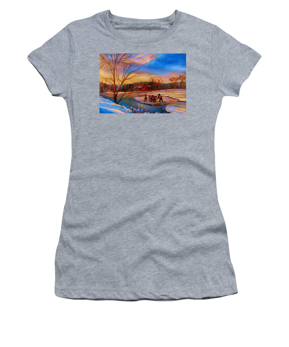 Pond Hockey Women's T-Shirt featuring the painting Hockey Game On Frozen Pond by Carole Spandau