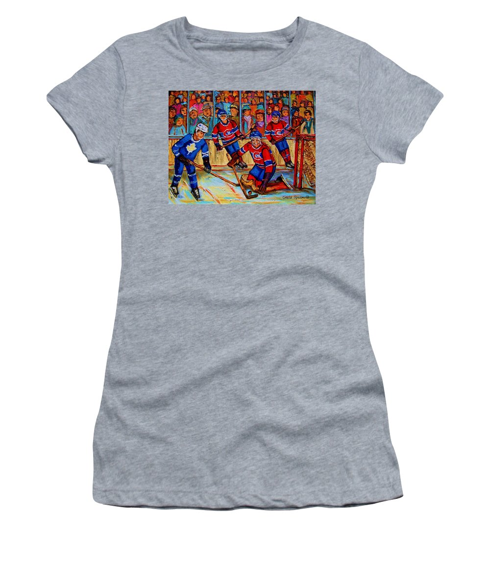 Hockey Women's T-Shirt (Athletic Fit) featuring the painting Hockey Hero by Carole Spandau