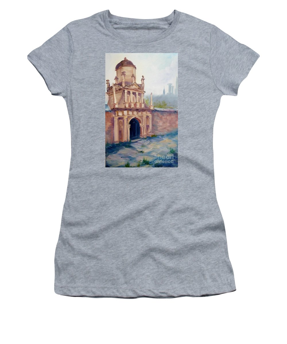 Wall Women's T-Shirt (Athletic Fit) featuring the painting Hole In The Wall by K M Pawelec
