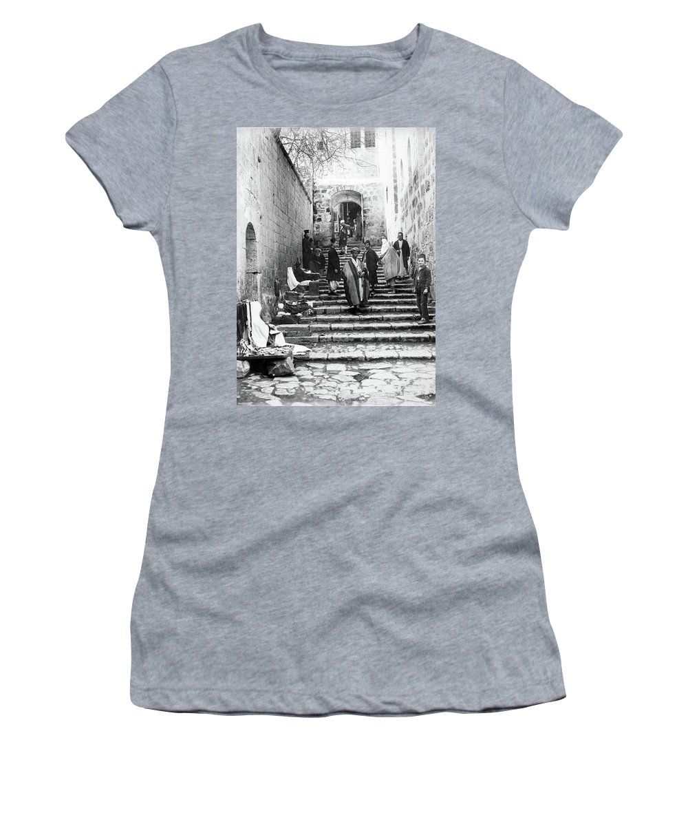 Holy Sepulchre Women's T-Shirt featuring the photograph Holy Sepulchre Stairs by Munir Alawi