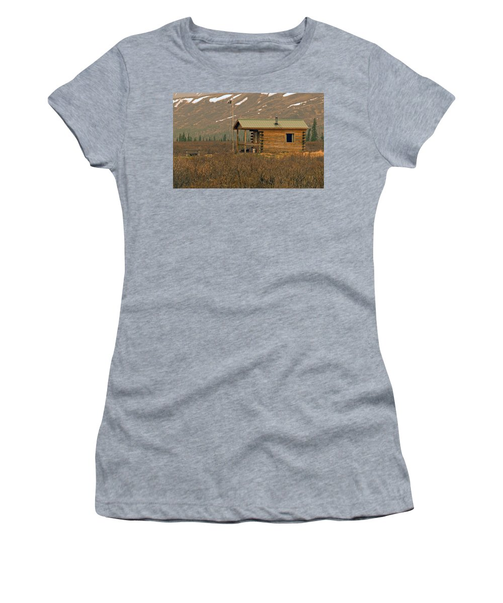 Log Cabin Women's T-Shirt (Athletic Fit) featuring the photograph Home Sweet Fishing Home In Alaska by Denise McAllister