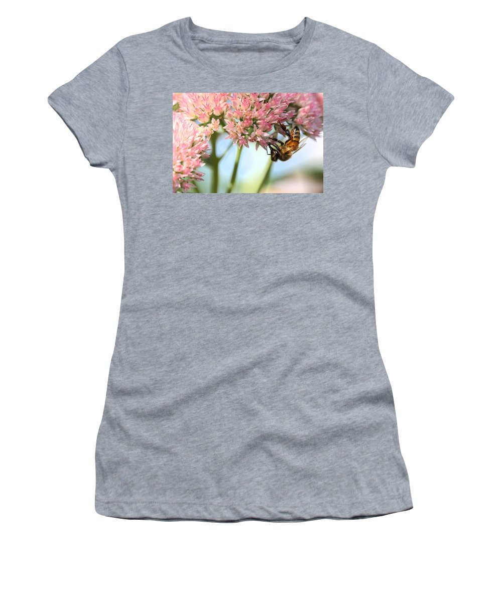 Bee Women's T-Shirt (Athletic Fit) featuring the photograph Honey Bee 2 by Angela Rath