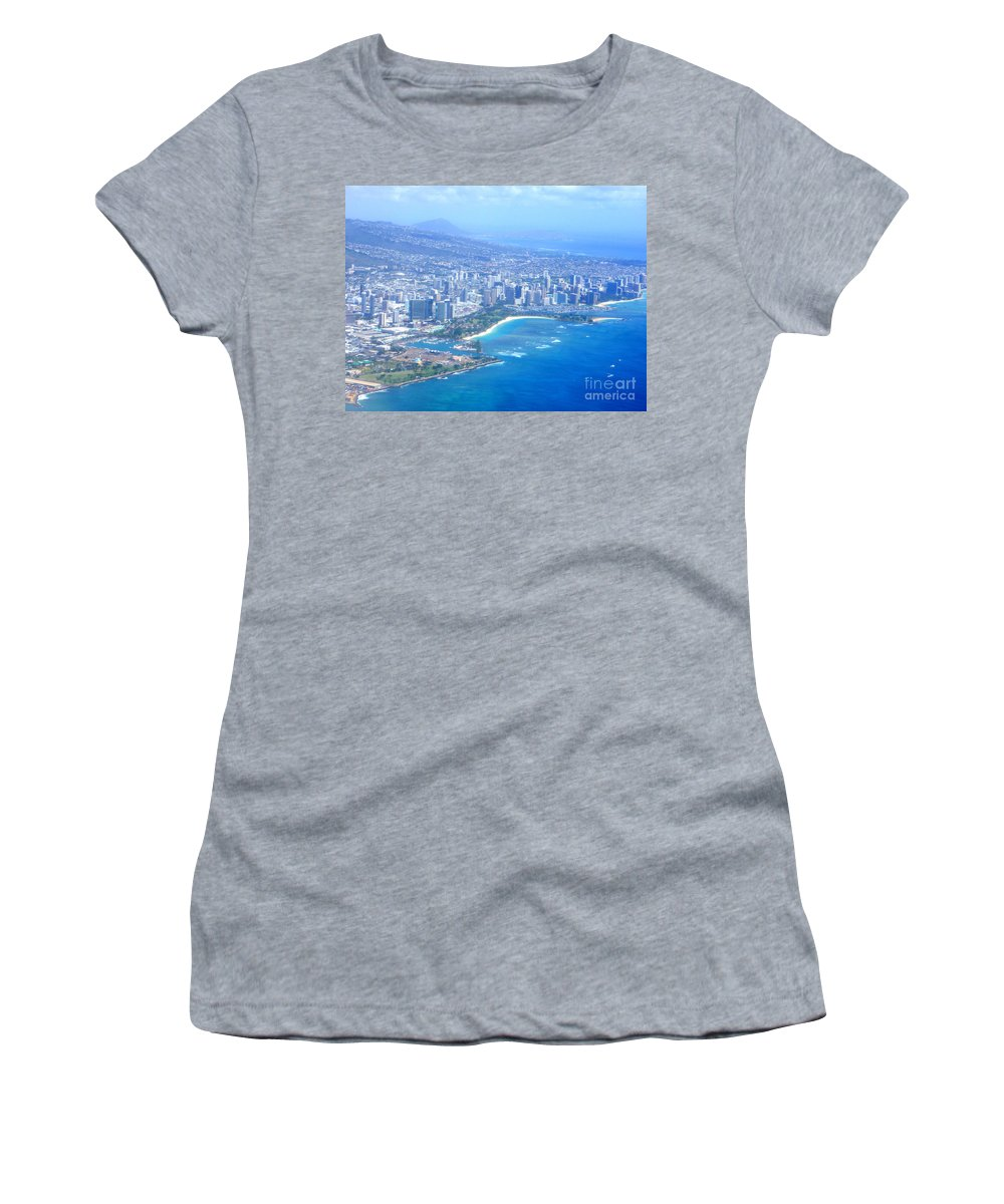 Honolulu Women's T-Shirt (Athletic Fit) featuring the photograph Honolulu And Waikiki From The Air by Mary Deal