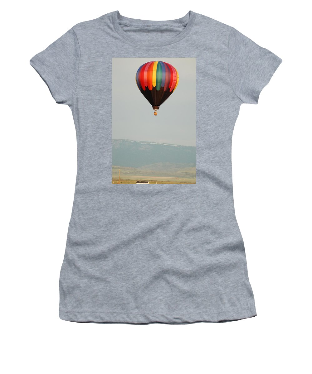 Hot Air Balloons Women's T-Shirt (Athletic Fit) featuring the photograph Hot Air Ballooning by Lucy Bounds