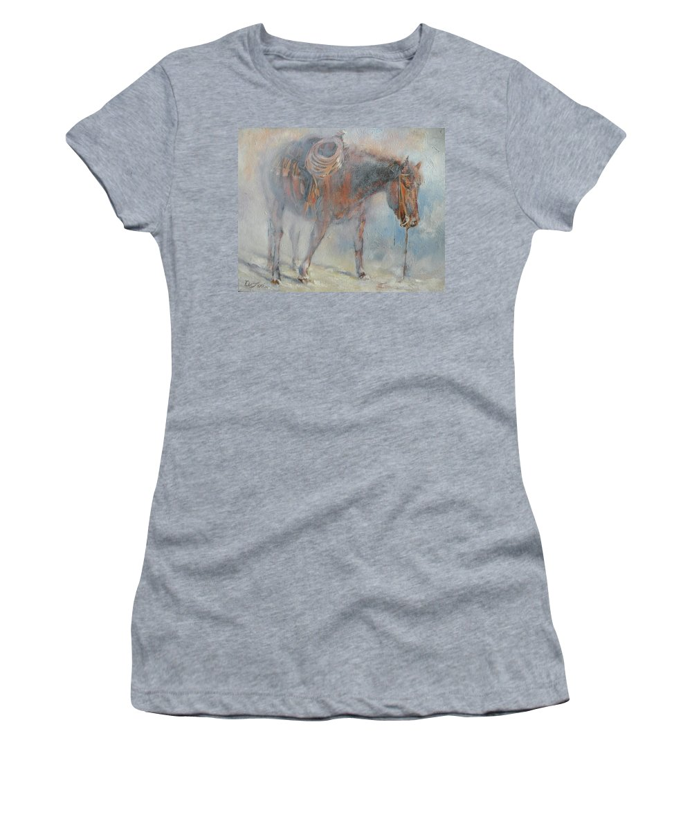 Horses Women's T-Shirt (Athletic Fit) featuring the painting Hot And Frosty by Mia DeLode