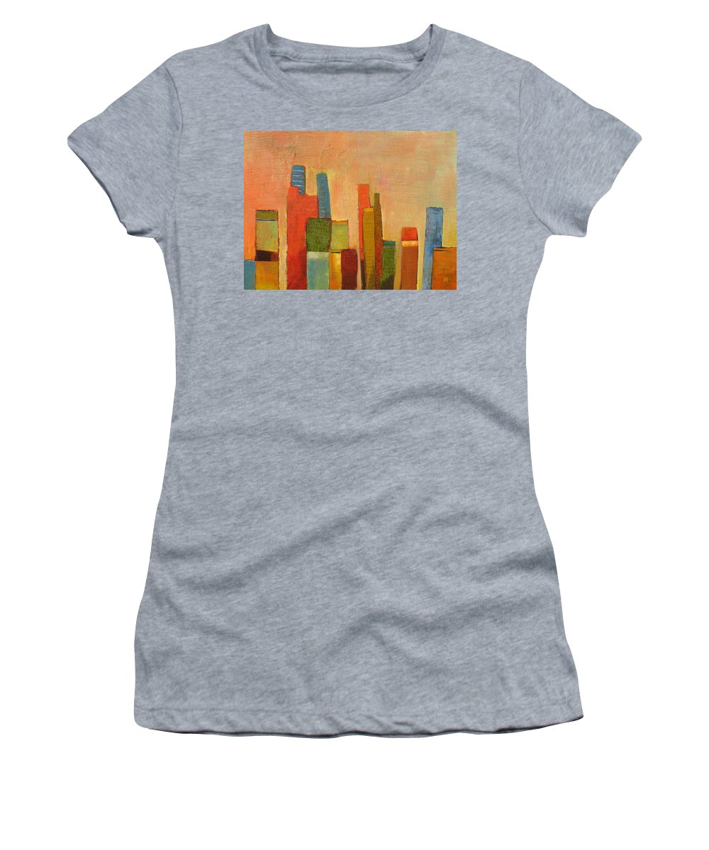 Abstract Cityscape Women's T-Shirt featuring the painting Hot Manhattan by Habib Ayat