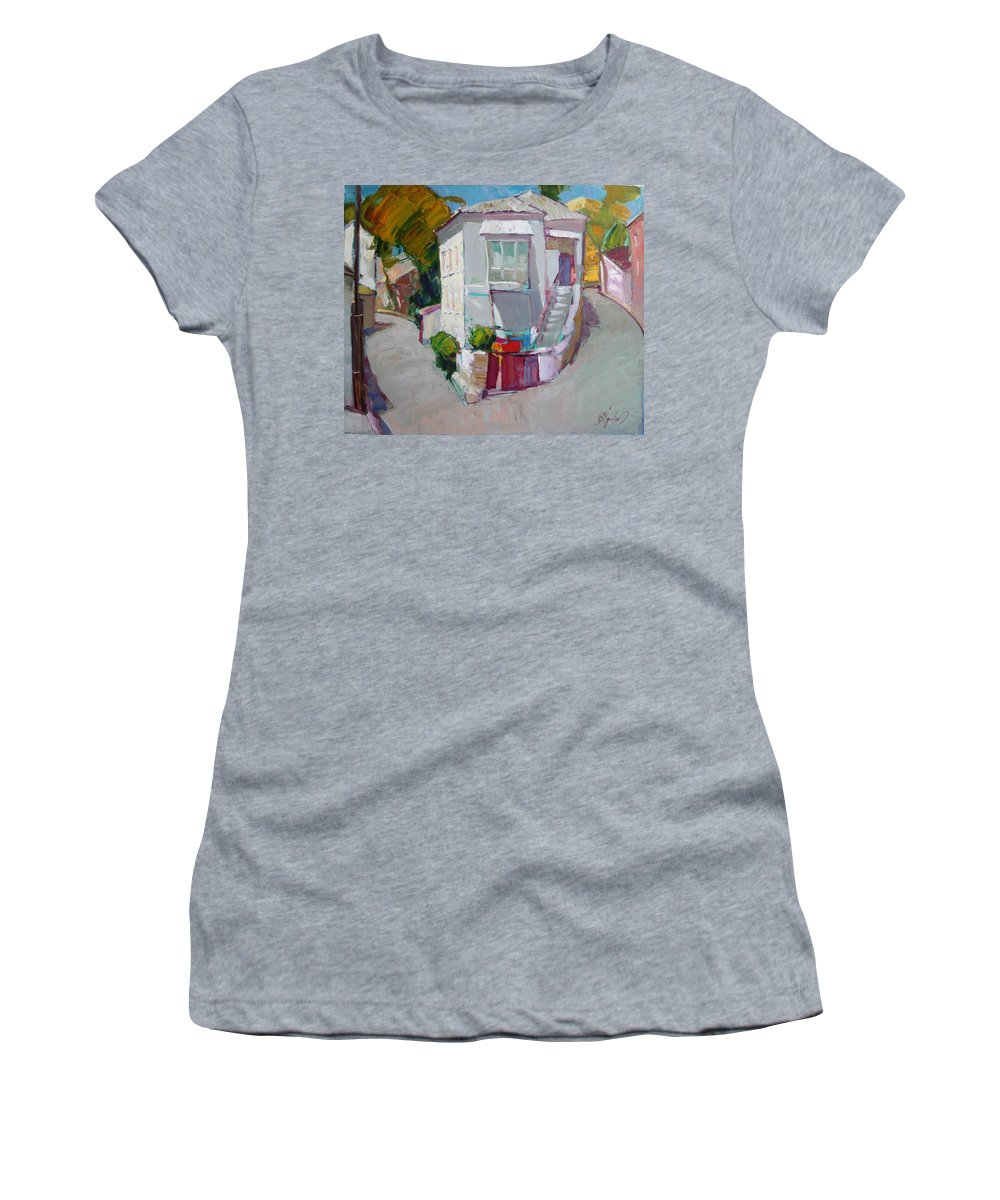 Ignatenko Women's T-Shirt (Athletic Fit) featuring the painting Hous In Crimea by Sergey Ignatenko