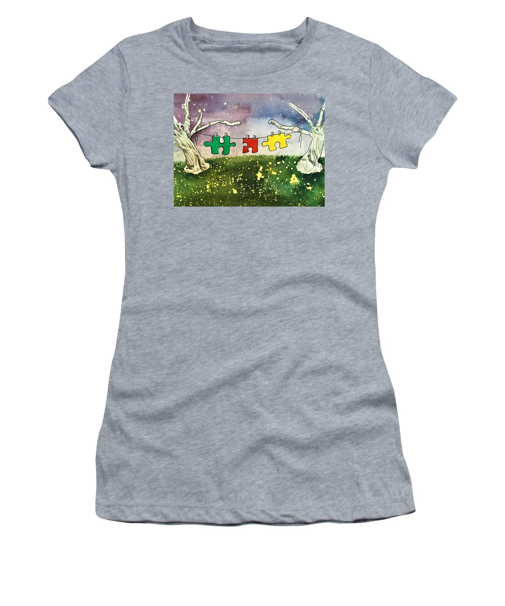 Autism Women's T-Shirt featuring the mixed media Hung Out To Dry by Amoroqie Art