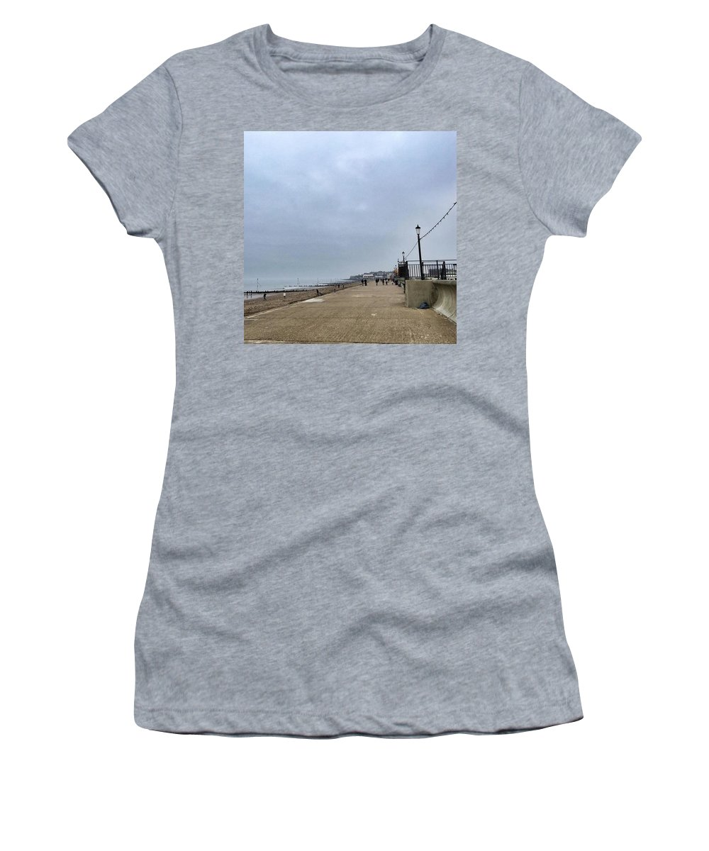 Beautiful Women's T-Shirt featuring the photograph Hunstanton At 4pm Yesterday As The by John Edwards