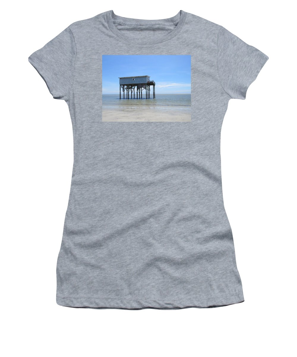 Women's T-Shirt (Athletic Fit) featuring the photograph Hunting Island Beach House by Krystal Bergeron