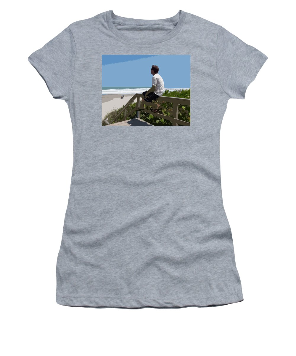 Hurricane Women's T-Shirt featuring the painting Hurricane Surf In Florida by Allan Hughes