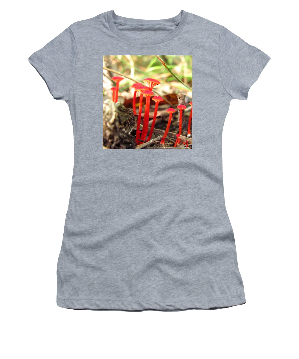 Hygrophrus Cantharellus Images Hygrophrus Cantharellus Photo Prints Red Mushroom Images Red Fungi Photo Prints Mason Neck Virginia Fungus Diversity Forest Ecosystem Ecology Biodiversity Nature Images Bright Red Mushrooms Images Women's T-Shirt (Athletic Fit) featuring the photograph Hygrophorus Cantharellus by Joshua Bales