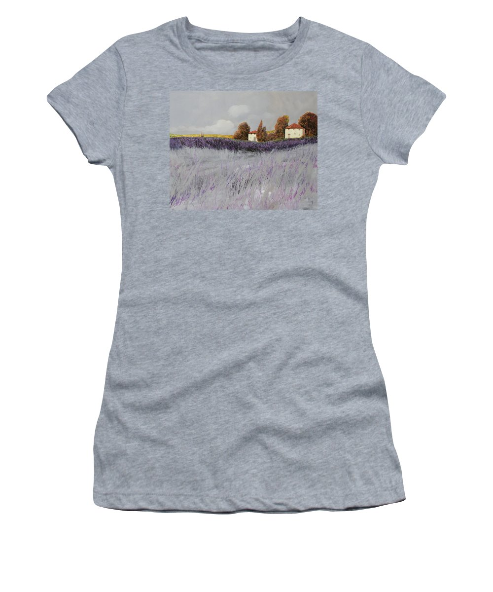 Lavender Women's T-Shirt (Athletic Fit) featuring the painting I Campi Di Lavanda by Guido Borelli