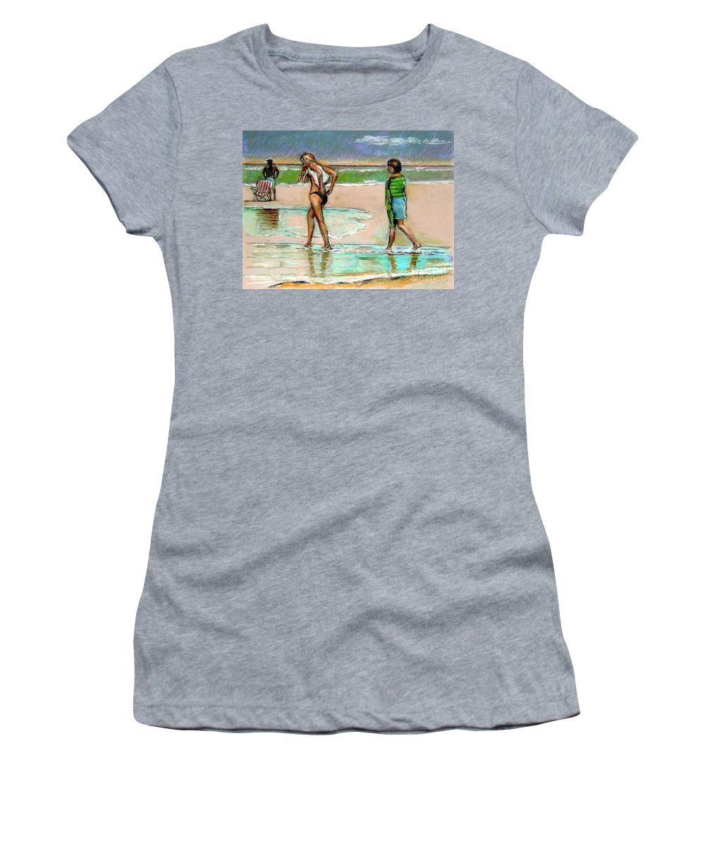 Beach Scene Women's T-Shirt (Athletic Fit) featuring the pastel I Hope The Sun Comes Out by Stan Esson