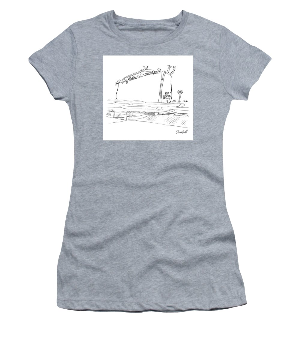 Ice Detention Facility Women's T-Shirt featuring the drawing Ice Detention Facility by Darrin Bell