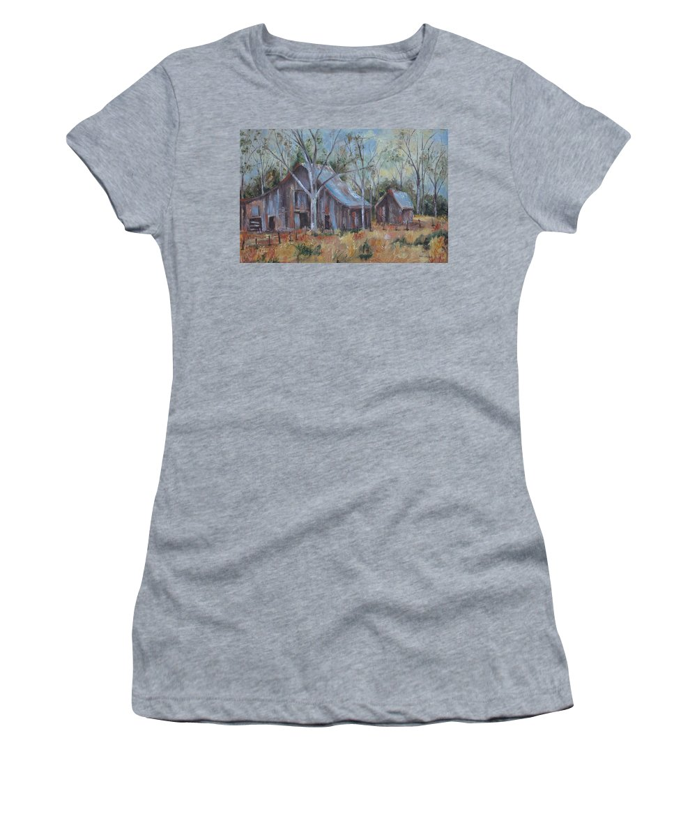 Barns Women's T-Shirt (Athletic Fit) featuring the painting If They Could Speak by Ginger Concepcion