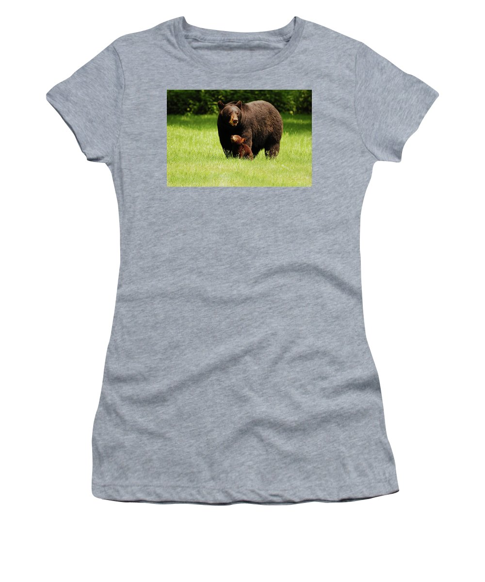 Black Bear Women's T-Shirt featuring the photograph I'll Always Look Up To You by Lori Tambakis