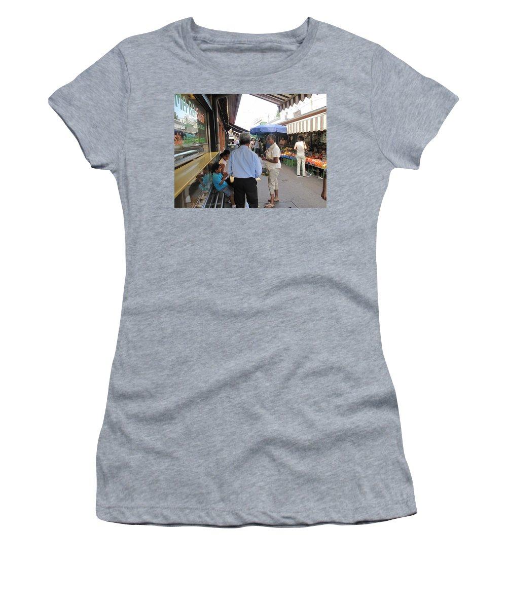 Naschmarkt Women's T-Shirt (Athletic Fit) featuring the photograph In The Naschmarkt Vienna by Ian MacDonald