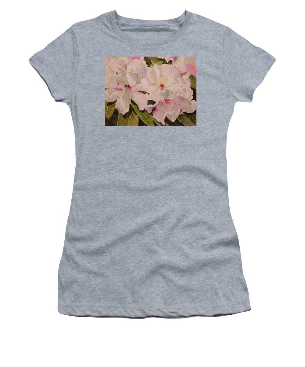 Pink Women's T-Shirt (Athletic Fit) featuring the painting In The Pink by Jean Blackmer