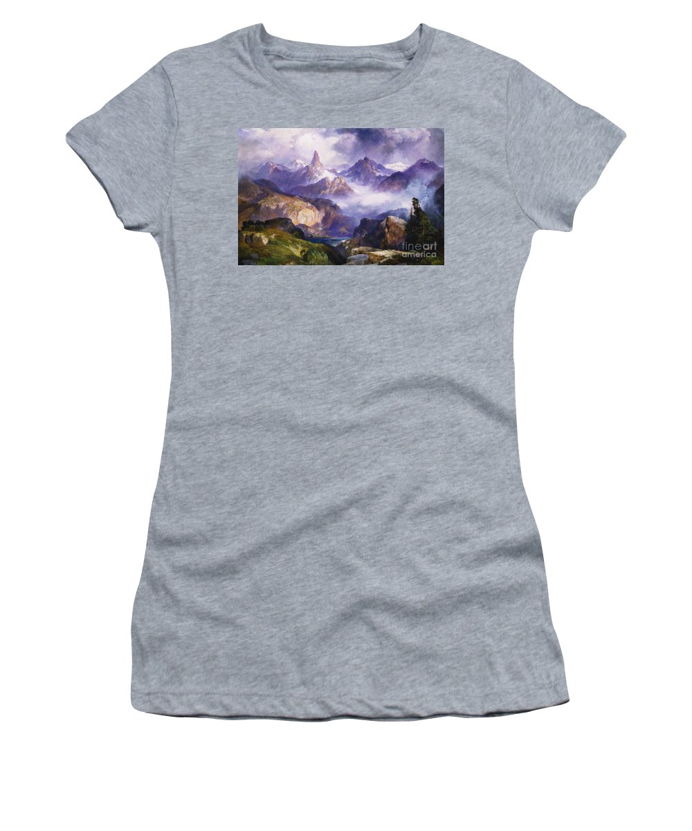 American Artist; American Painting; Cloud; Cloudy; Day; Drama; Dramatic; Ecosystem; Forest; Hudson River School; Idyllic;isolation; Lake; Meteorology; Mountains; Mountain Range; Mountaintop; National Park; Nature; Natural Phenomena;oil Painting; Outdoors; Picturesque; Positive Concepts; Remote; Rock; Romantic Art; Romantic Era; Romanticism; Scene; Scenery; Scenic; Secluded; Seclusion; Sky; Snow Capped; Snow-capped; Water; Weather; Wood; Woodland; Wyoming; Yellowstone National Park Women's T-Shirt featuring the painting Index Peak Yellowstone National Park by Thomas Moran