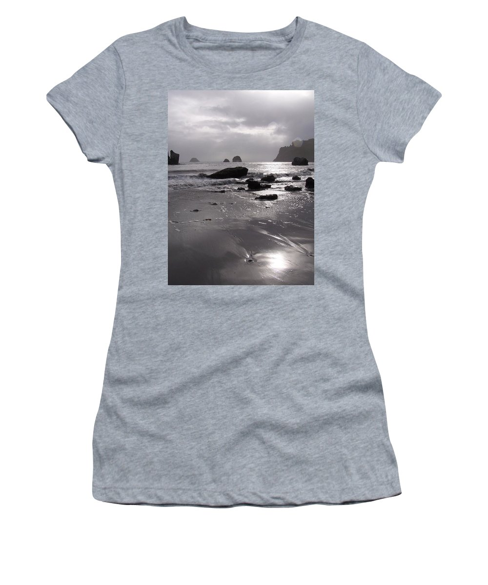 Beach Women's T-Shirt (Athletic Fit) featuring the photograph Indian Beach by Gale Cochran-Smith