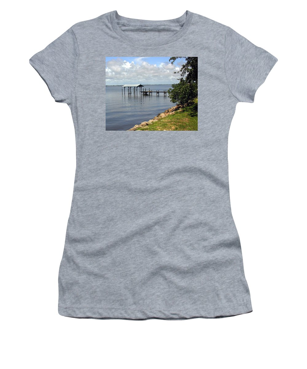 Pier; Wharf; Damaged; Hurricane; Indian; River; Florida; Indialantic; Brevard; Melbourne; Old; Inter Women's T-Shirt (Athletic Fit) featuring the photograph Indian River In Indialantic Florida by Allan Hughes