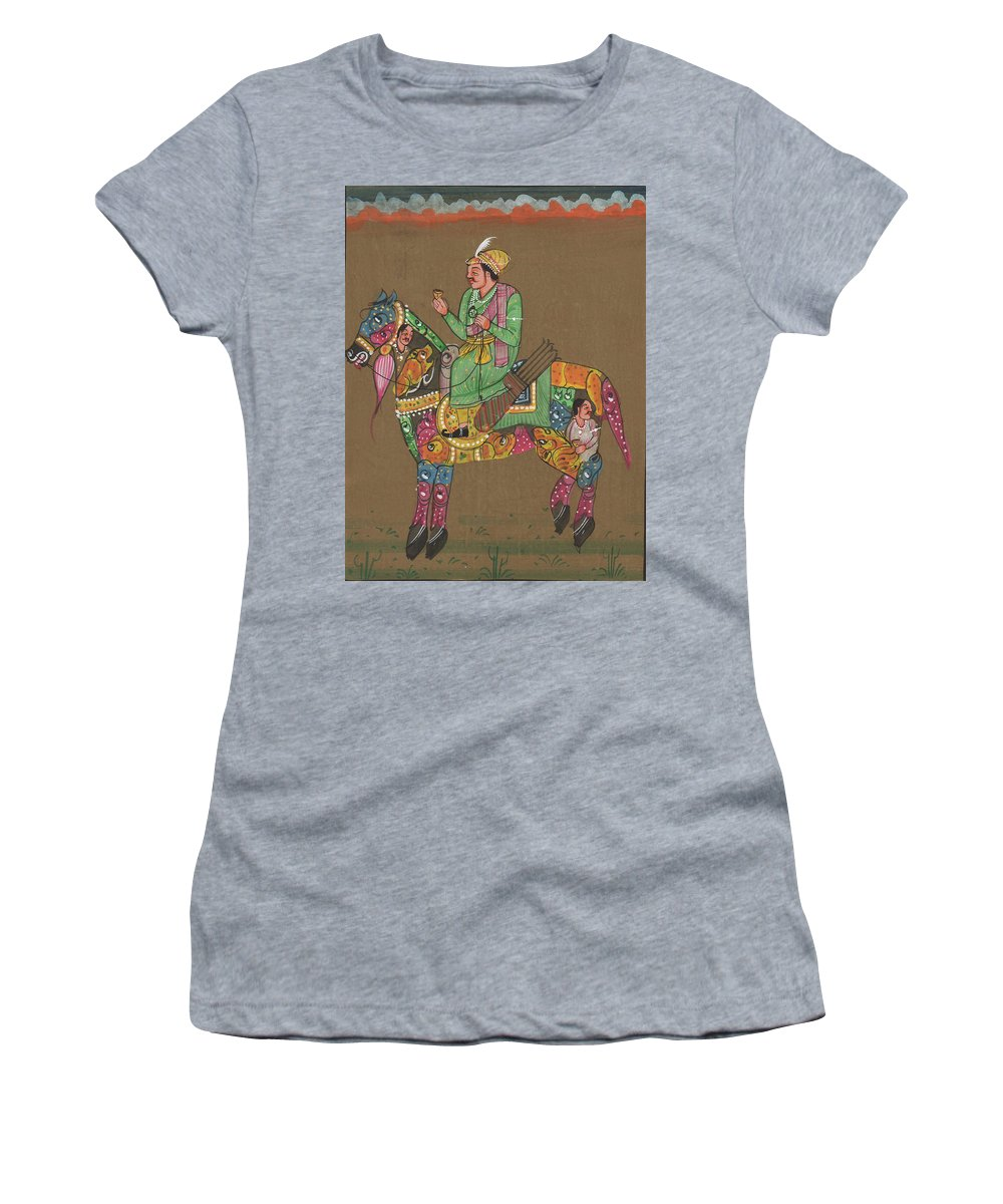 Indian Royal King Maharaja Savari On Artistic Beautiful Horse Indian Miniature Watercolor Malerei Women S T Shirt For Sale By Rajkumar Sharma