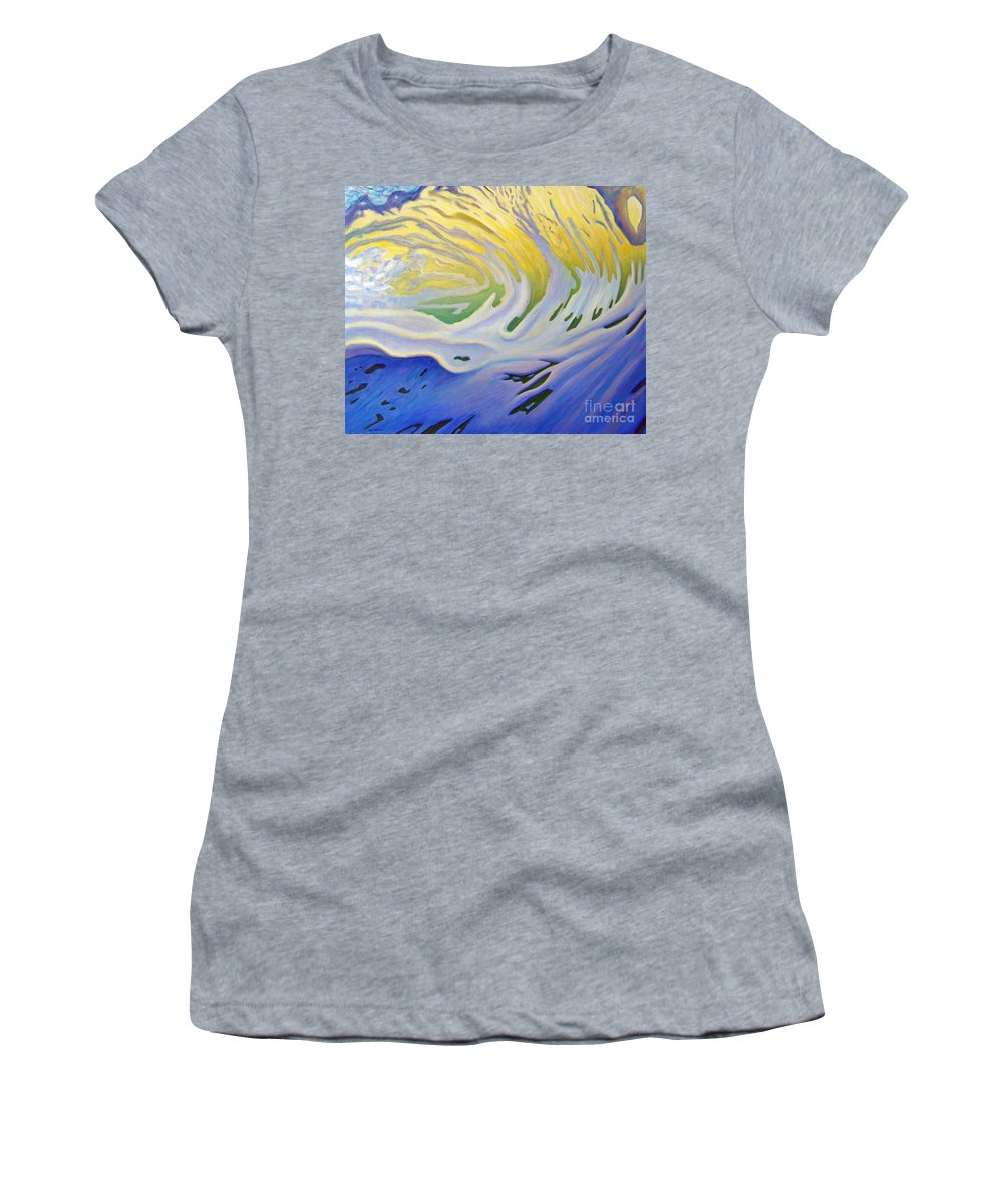 Ocean Women's T-Shirt (Athletic Fit) featuring the painting Inner Ocean - Joy by Brian Commerford