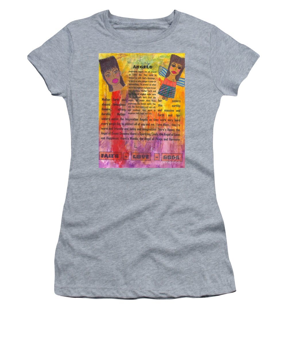 Angels Women's T-Shirt (Athletic Fit) featuring the mixed media Inspiration Angels II by Angela L Walker