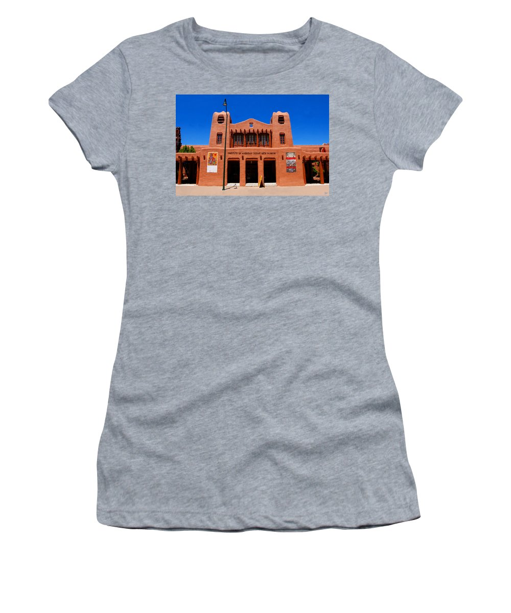 Institute Of American Indian Arts Museum Women's T-Shirt (Athletic Fit) featuring the painting Institute Of American Indian Arts Museum by David Lee Thompson