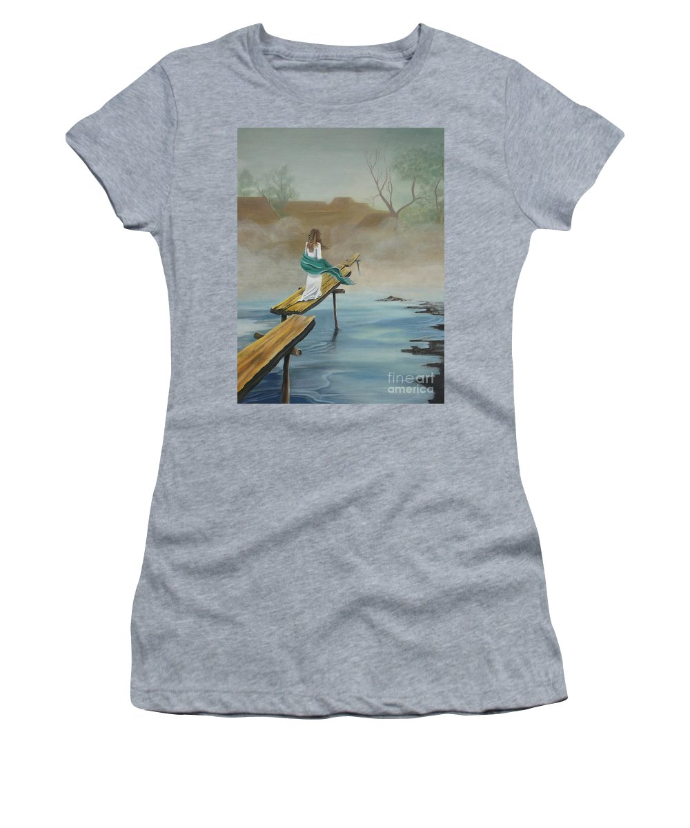 Water Women's T-Shirt (Athletic Fit) featuring the painting Into The Mist by Kris Crollard