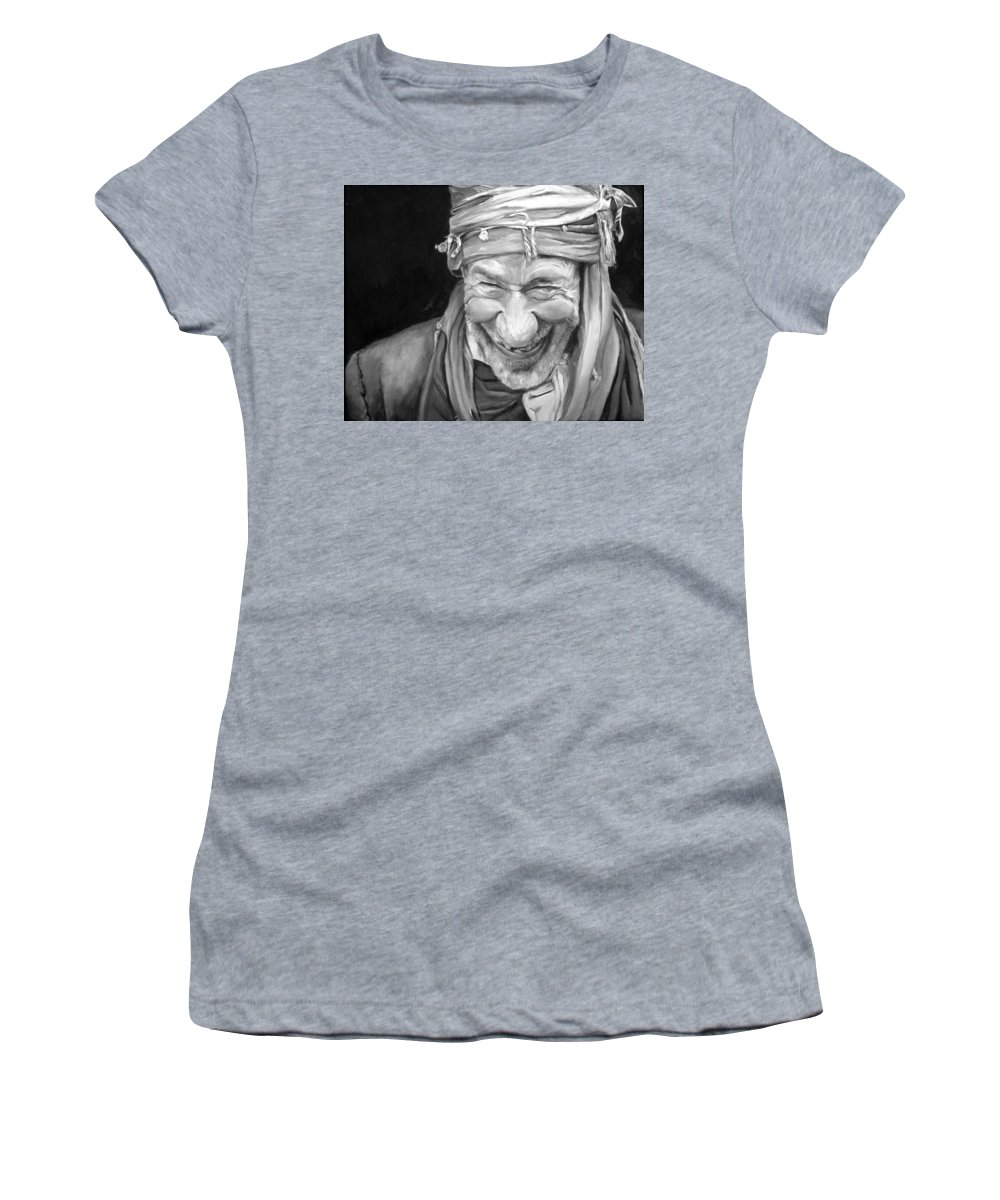 Man Women's T-Shirt (Athletic Fit) featuring the painting Iranian Man by Portraits By NC