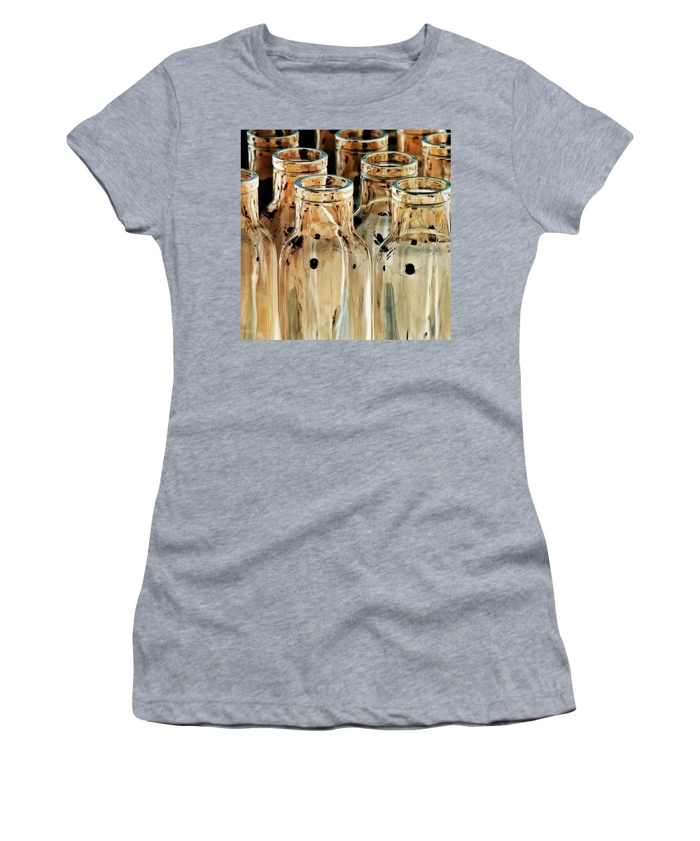 Bottles Women's T-Shirt (Athletic Fit) featuring the photograph Iridescent Bottle Parade by Heiko Koehrer-Wagner