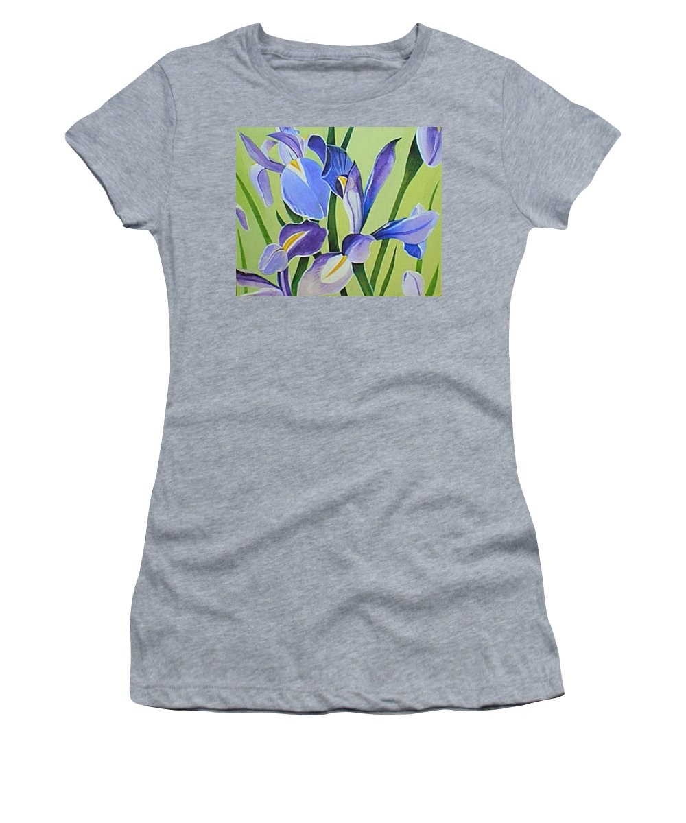 Flower Women's T-Shirt (Athletic Fit) featuring the painting Iris Fields - Center Panel by Helena Tiainen